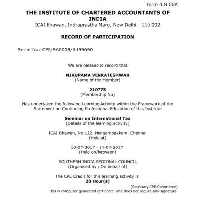 international taxation certificate